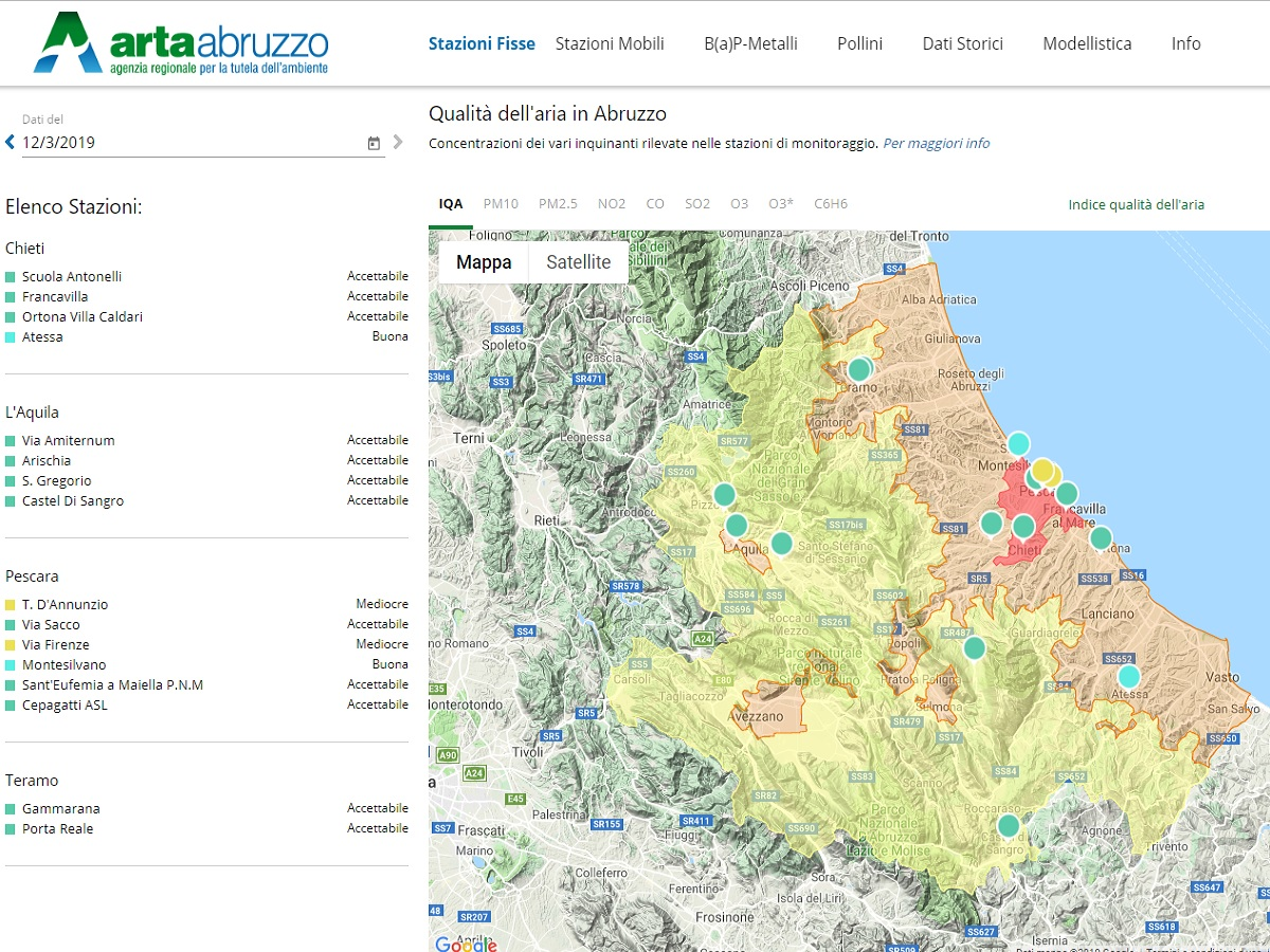 Qualità dell'aria in Abruzzo, on line il nuovo portale con i