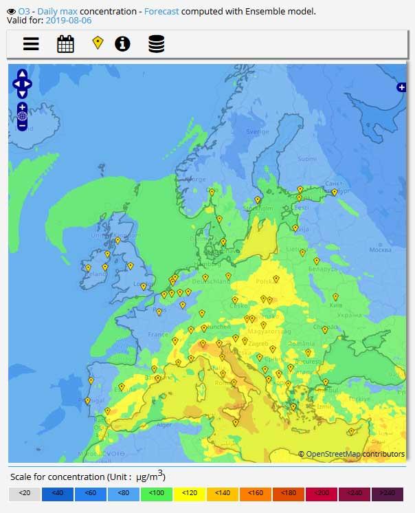 Previsioni ozono in Europa da Copernicus