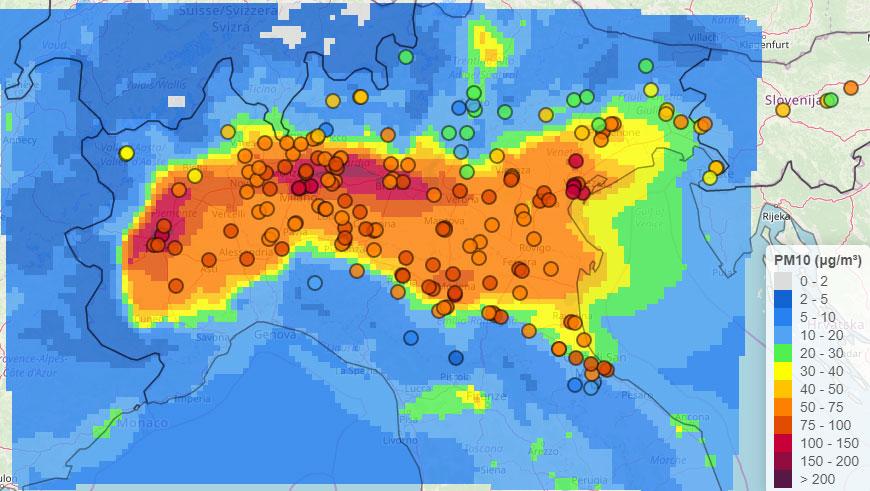 PM10 nel Bacino Padano il 14 gennaio 2020