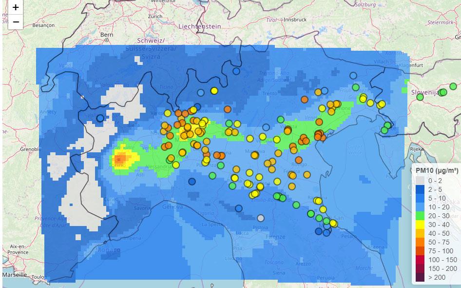 PM10 nel bacino padano il 18 gennaio 2020