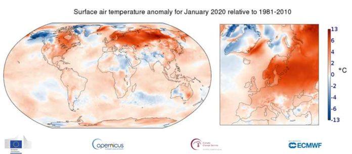 temperature globali gennaio 2020