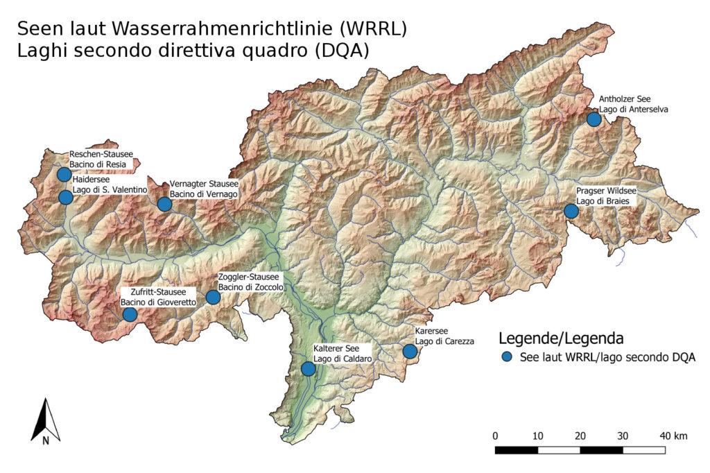 cartina dell'Alto Adige con indicati i punti dove si trovano i 9 grandi laghi altoatesini