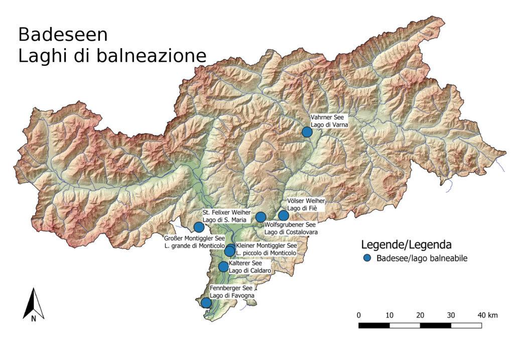 La mappa degli 8 laghi balneabili dell'Alto Adige (Fonte: Appa Bolzano)
