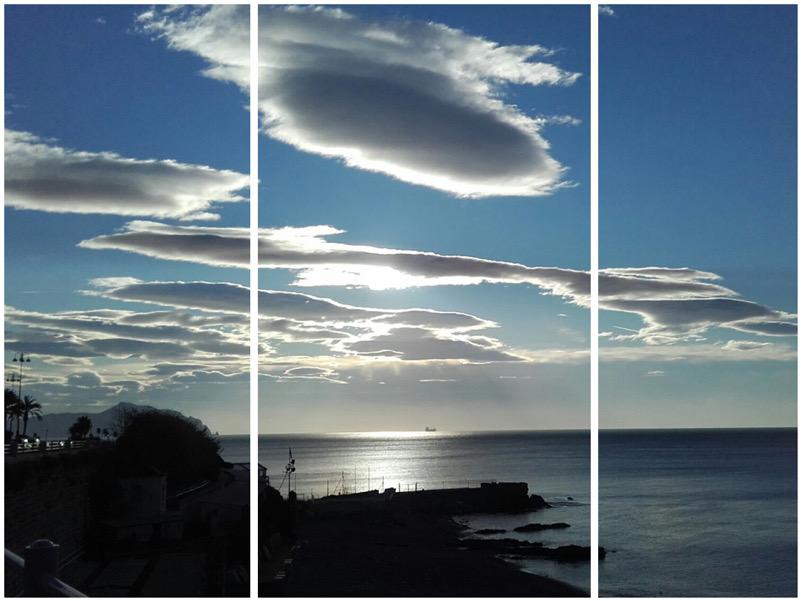 Spettacolari nubi orografiche sottovento all'Appennino ligure (trittico)