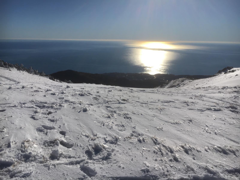 Neve e mare in Liguria